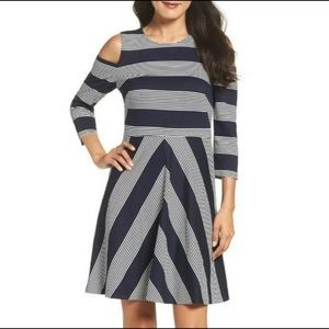 Eliza J Striped Fit and Flare Navy Blue Dress